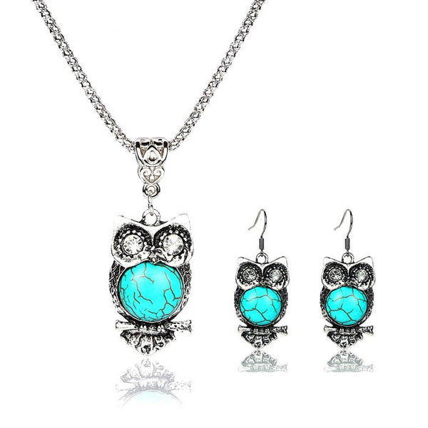Vintage Tibetan Style Silver Retro Owl Necklace-Earrings Set - [neshe.in]