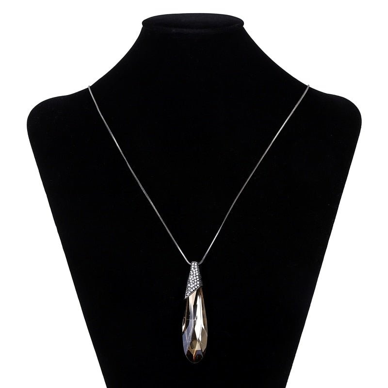 Vintage Big Crystal Drop Long Maxi Necklace - 2 Colors - [neshe.in]