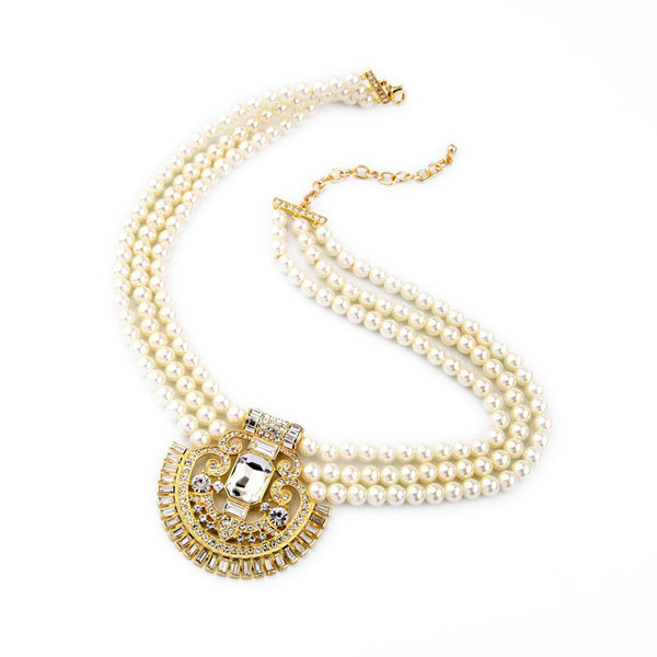 Multilayer Pearl Collar Necklace For Party - [neshe.in]