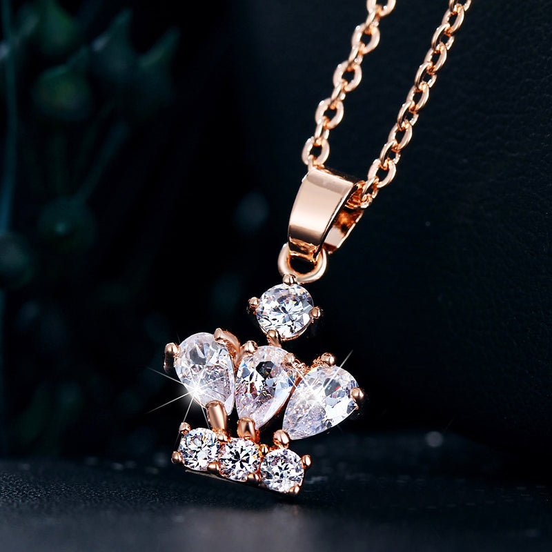 CZ Crystal Crown Pendant Earrings Necklace Set - [neshe.in]