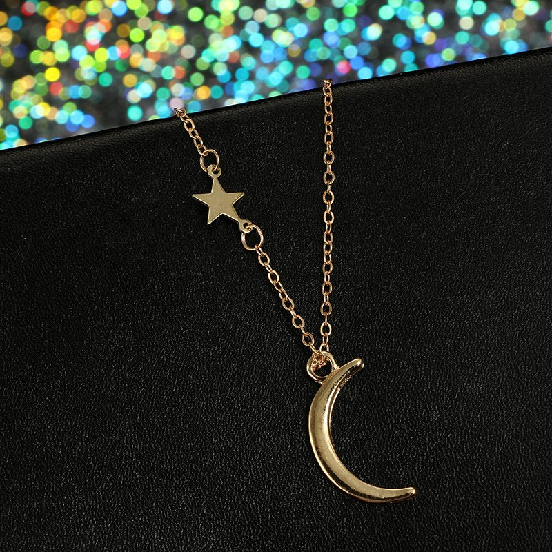 Golden Moon Star Pendant Necklace - [neshe.in]