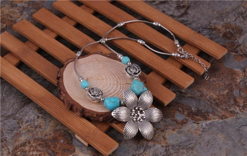 Bohemian Ethnic Gypsy Tibetan Silver Color Chain Big Stone Necklace - [neshe.in]