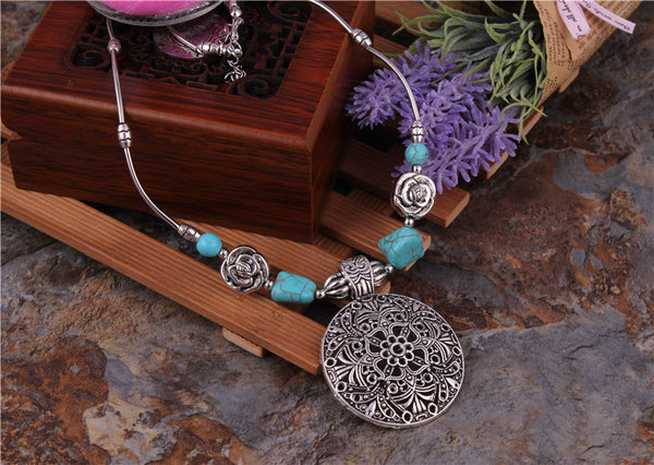 Bohemian Carved Tibetan Silver Color Stone Vintage Necklace - [neshe.in]