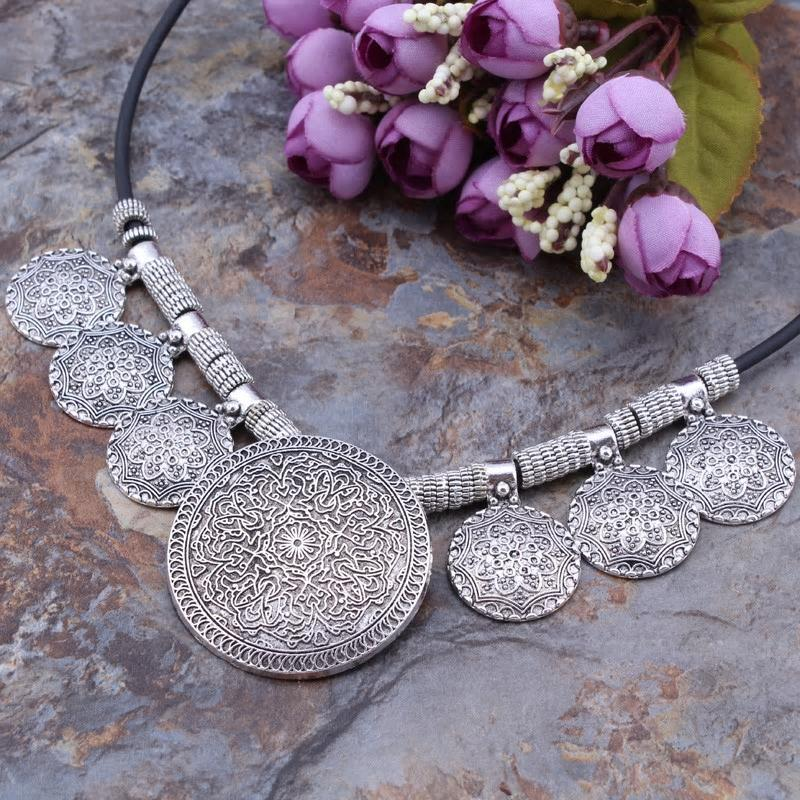Bohemian Gypsy Vintage Tibetan Silver Carved Statement Necklace - [neshe.in]