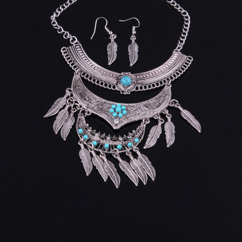 Vintage Multi Layer Bohemian Stone Leaves Tassels Necklace Earrings Set - [neshe.in]