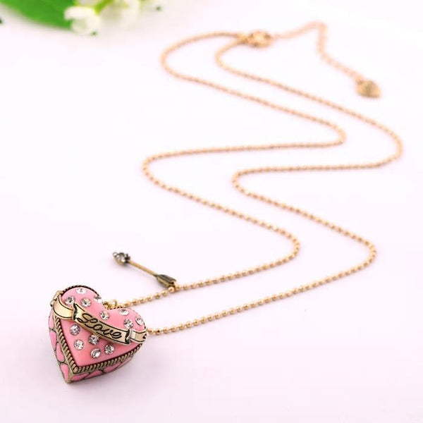 Heart Shaped Pink Box Charm Necklace - [neshe.in]
