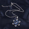 Blue CZ Crystal Rhinestone Flower Pendant Necklace Earrings Set - [neshe.in]