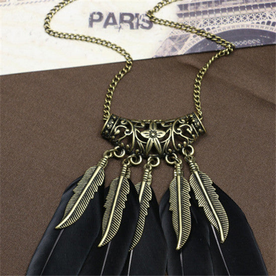 Boho Ethnic Indian Style Feather Pendant Necklace - 2 Colors - [neshe.in]