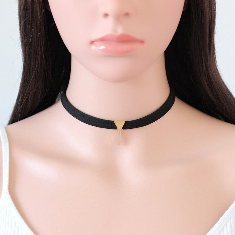 Velvet Suede Choker Necklace with Rectangle Pendant - 3 Styles - [neshe.in]