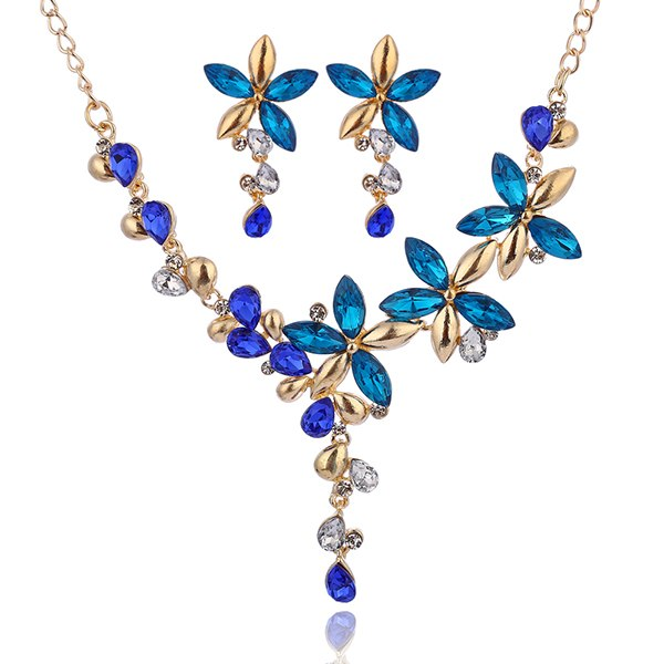 Colorful Zircon Necklace-Earrings Set - 3 Colors - [neshe.in]