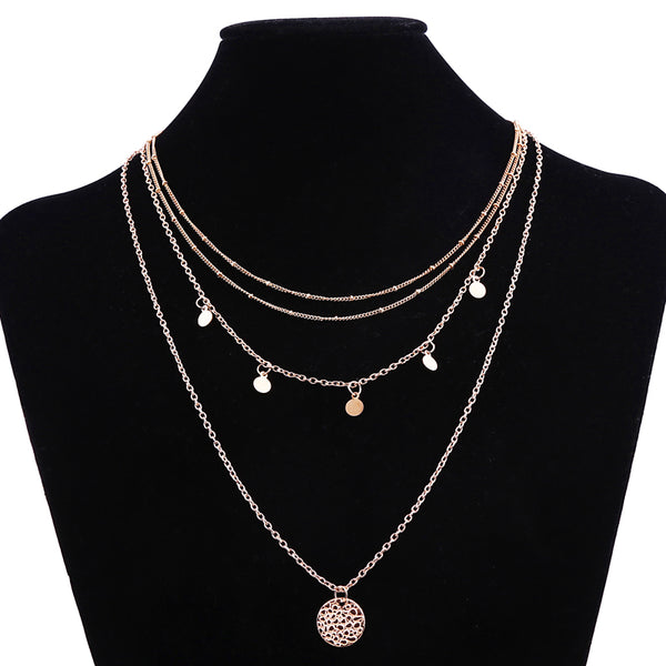 Golden Multilayer Wafer Pendant Necklace - [neshe.in]