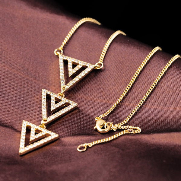 Collier Three Triangle Pendant Rhinestone Chain Necklace - [neshe.in]