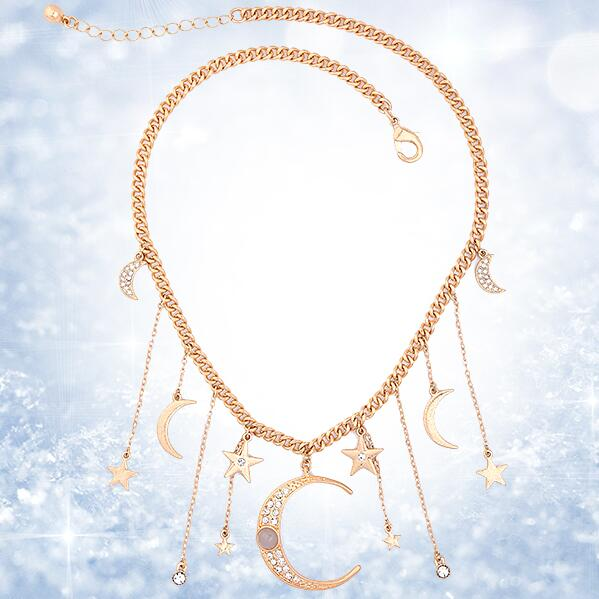Statement Jewelry Gold Color Star Moon Crystal Pendant Necklace - [neshe.in]