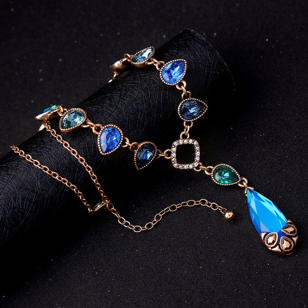 Bohemia Blue Crystal Water Drop Statement Necklace Party wear - [neshe.in]