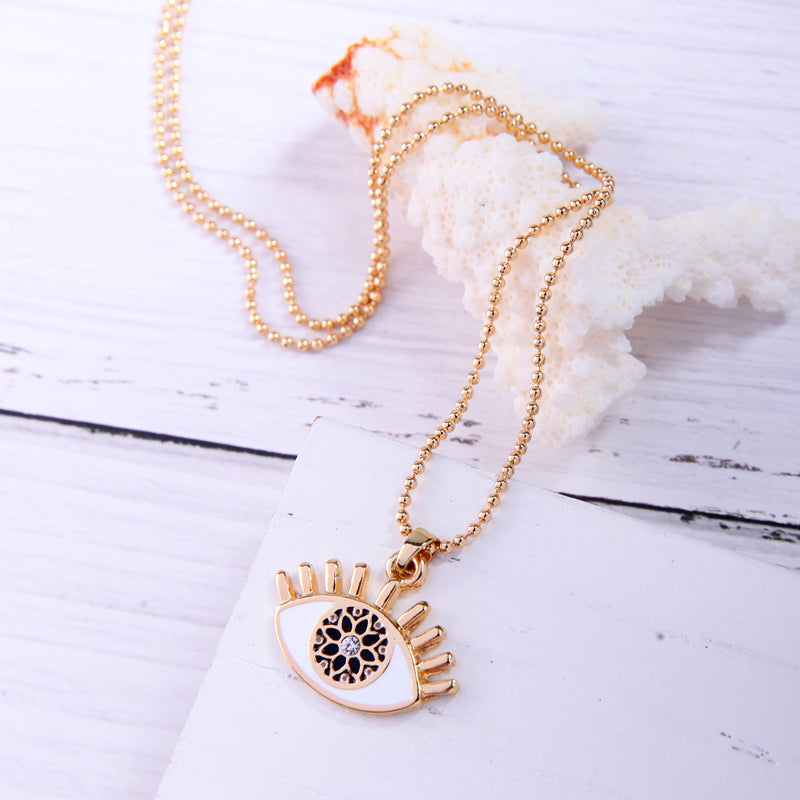 Evil Eye Classic Enamel Pendants Chain Necklace - [neshe.in]
