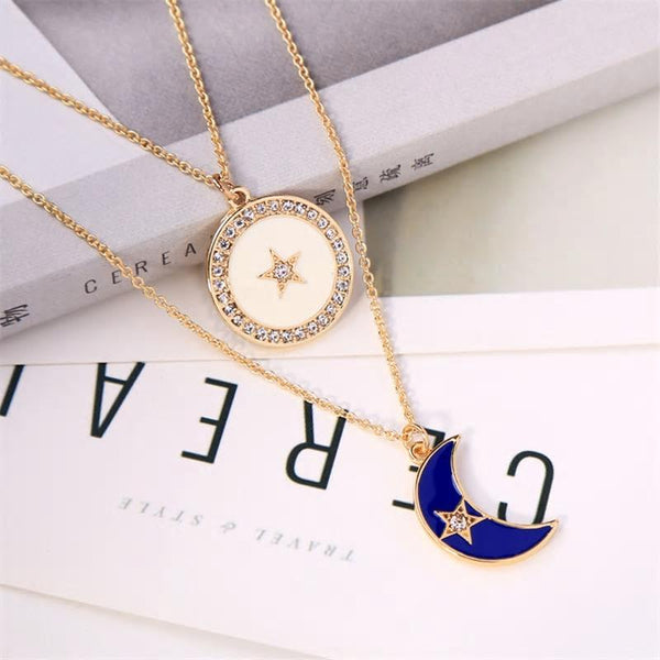 Two layered White moon and Blue Star Gold Multilayer Necklace - [neshe.in]