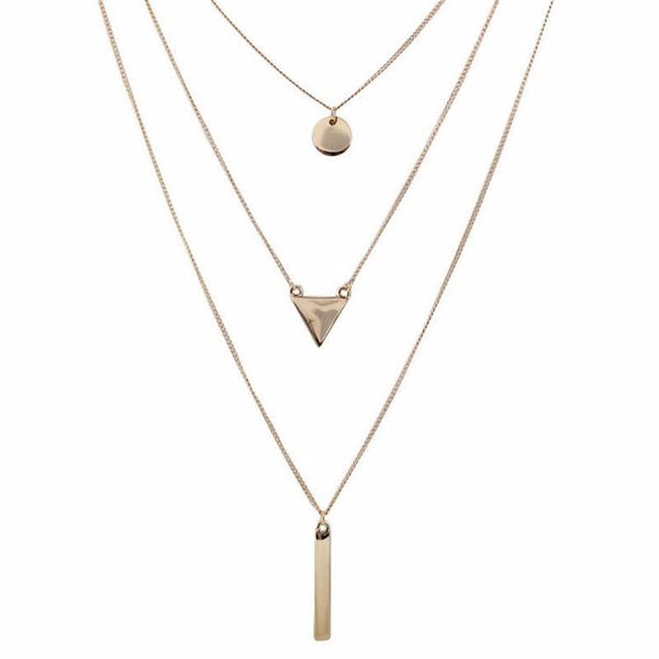 Three layered Gold Multilayer Necklace - [neshe.in]