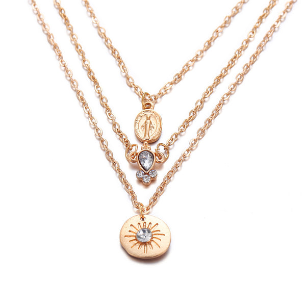 Multilayer Crystal Charm Layered Chain  Pendant Necklaces - [neshe.in]