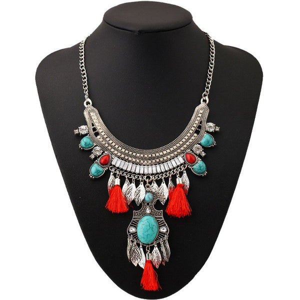 Bohemian Cotton Tassel Blue Stone Choker Statement Necklace -2 Colors - [neshe.in]