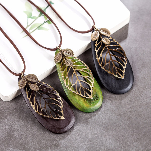 Vintage leaf woman statement necklaces & pendants - [neshe.in]