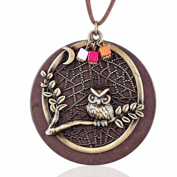 Vintage Wood Women Jewelry Owl Long necklaces necklaces & pendant - [neshe.in]