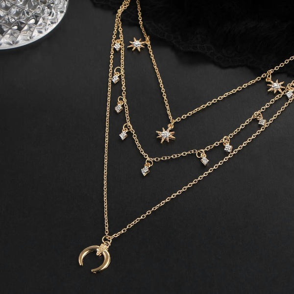 Multi Layer Moon Star Pendant Necklaces - [neshe.in]