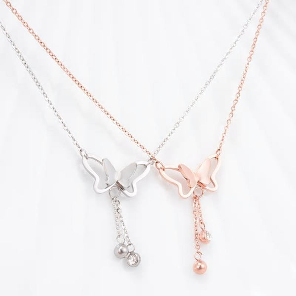 Butterfly Pendant Delicate Chain Necklace - 2 Colors - [neshe.in]