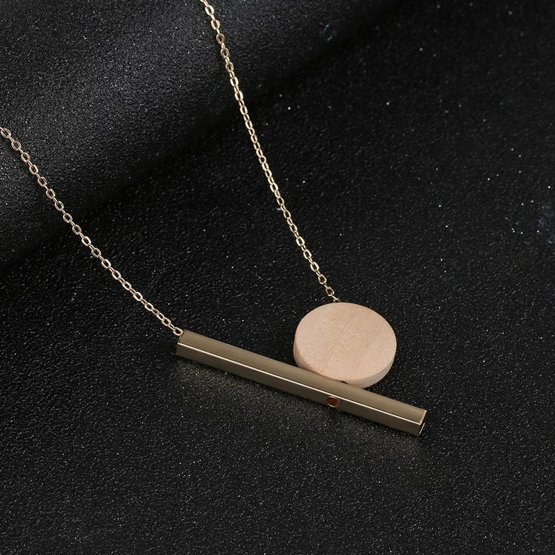Geometric Wood Pendant Golden Chain Necklace - [neshe.in]