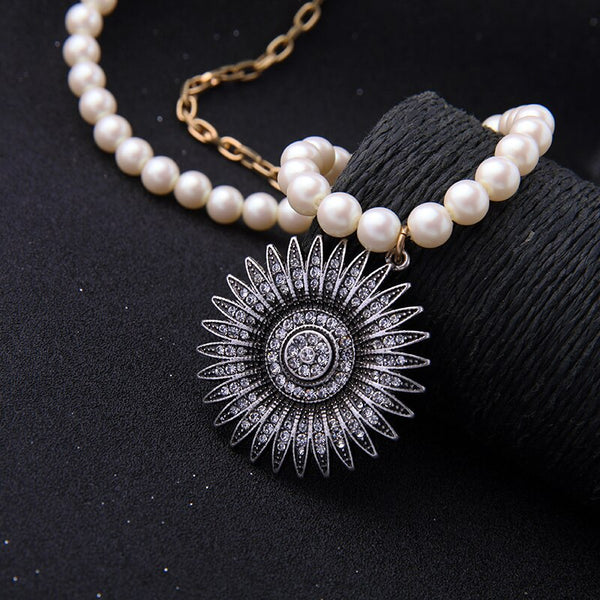 Pearl Chain Round Off Center (Side) Pendant New  Styled Necklace - [neshe.in]