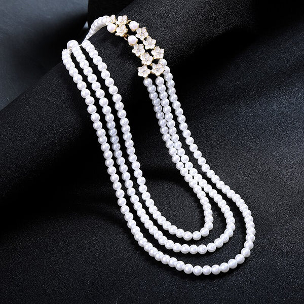 3 Layered Pearl Necklace Fashion Necklace Wedding Necklace - [neshe.in]