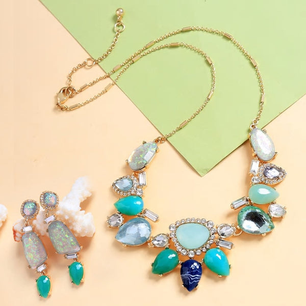 Aqua Teal Blue Geometric Collar Necklace Earring Set - [neshe.in]