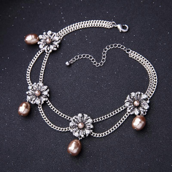 Crystal Flowers Choker Layered  Simulated Pearls Necklace - [neshe.in]