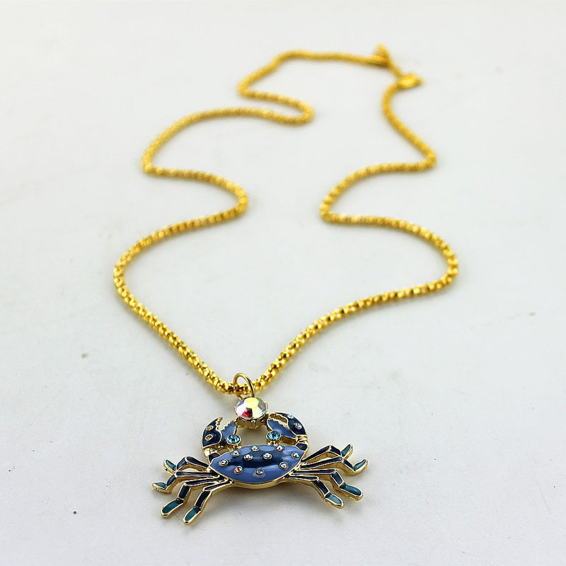 Long Chain Enamel Crab Pendant Necklace - [neshe.in]