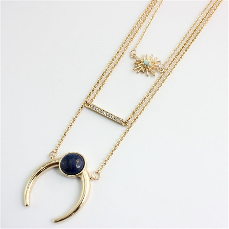 Multilayer Golden Chain Crescent Necklace - [neshe.in]