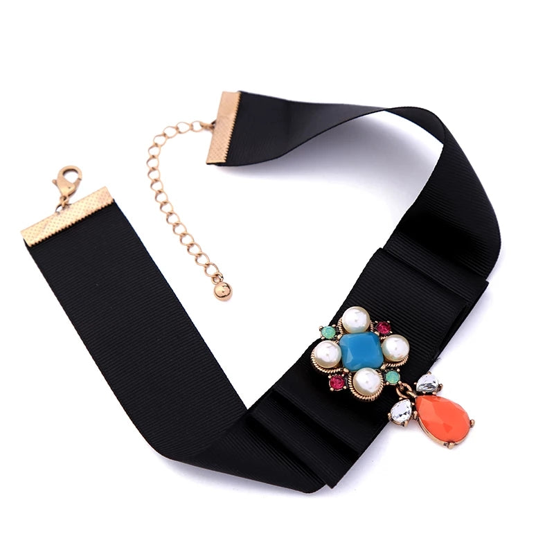 Colorful Crystals & Pearls Party Choker Necklace - [neshe.in]