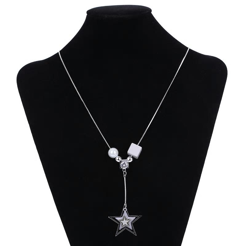 Geometric Star Wooden Long Chain Necklace - [neshe.in]