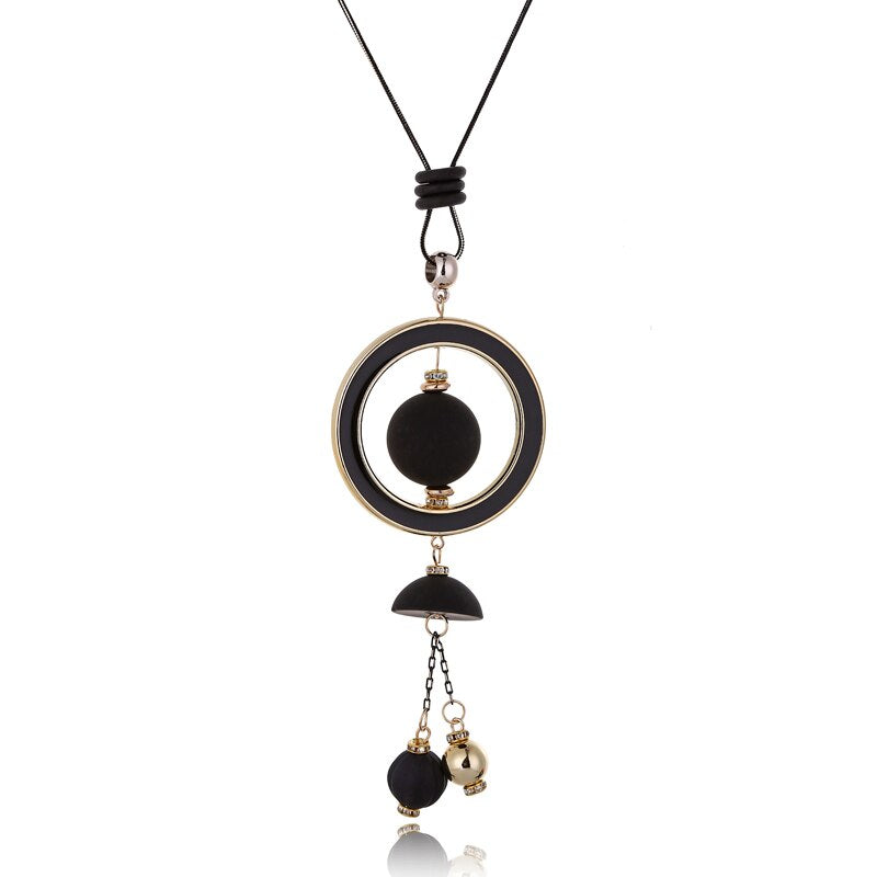 Wood Beads Tassel Pendant  Statement Necklace - 2 colors - [neshe.in]