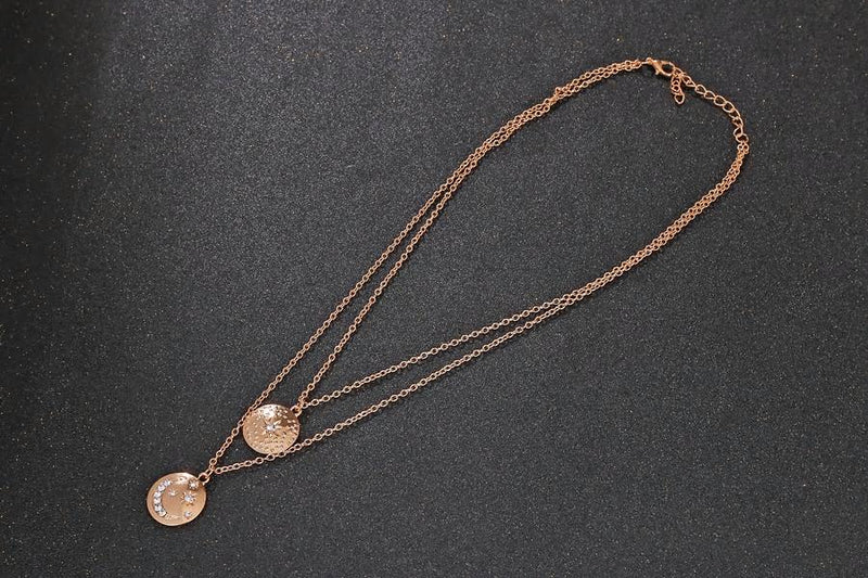 Boho Star Moon Gold Chain Double Layered Necklace - [neshe.in]