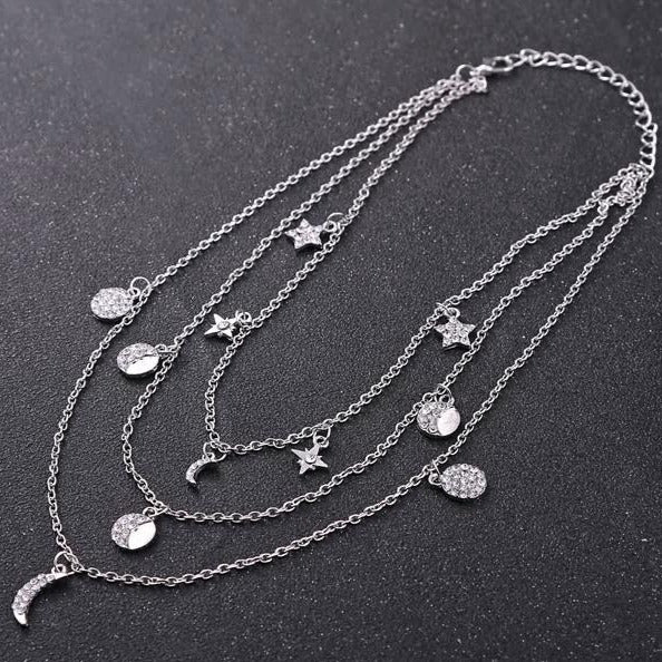 Bohemian Moon Star Rhinestone Pendant Necklace - [neshe.in]