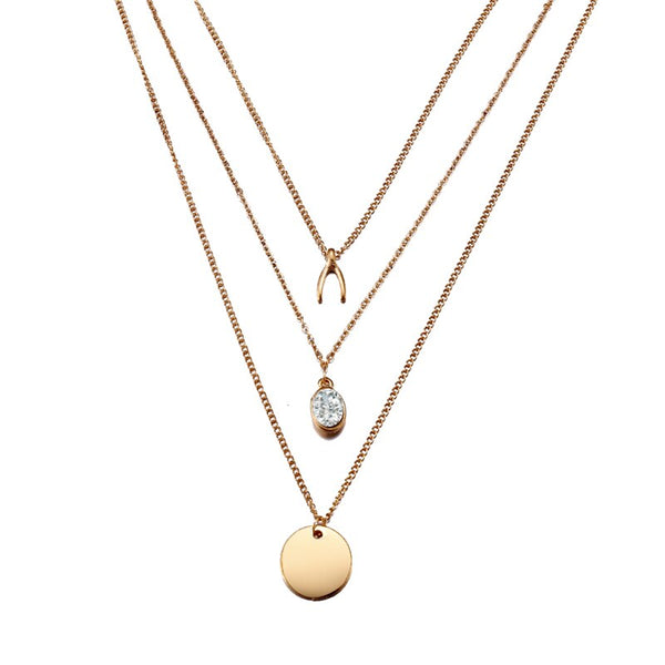 Bohemian Long Chain Coin Crystal V Pendant Golden Necklace - [neshe.in]