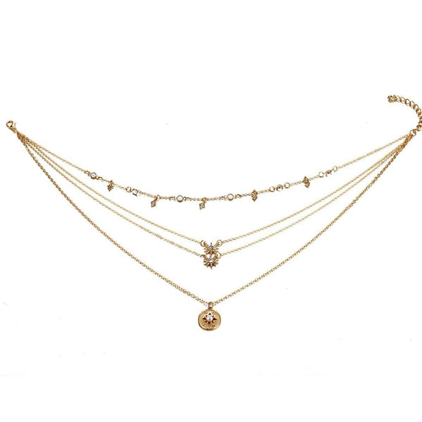 Bohemian Multilayer Stars & Pearl Drop Pendant Necklace - [neshe.in]