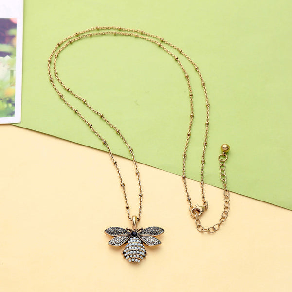 Long Bee Pearl Gold Pendant Necklace - [neshe.in]