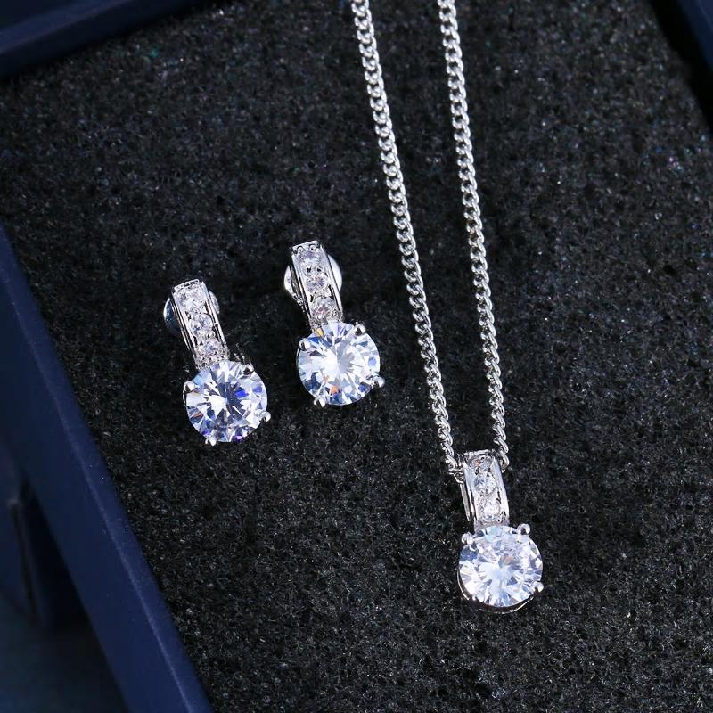 CZ Crystal Silver Necklace Earring Set - [neshe.in]
