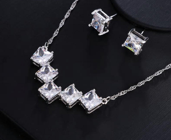 AAA CZ Square Crystal Pendant Necklace Earring Set - [neshe.in]