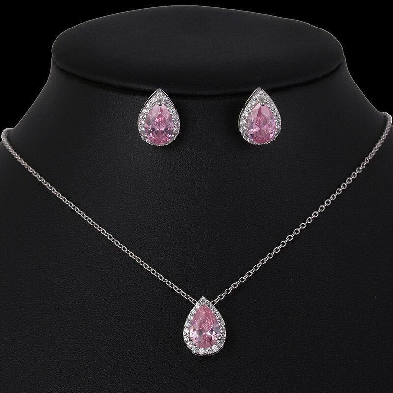 CZ Water Drop Crystal Luxury Pendant Necklace Set - 7 Colors - [neshe.in]