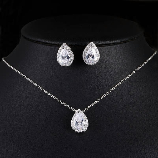 CZ  Tear Drop Crystal Luxury Pendant Necklace Set - 3 Colors - [neshe.in]