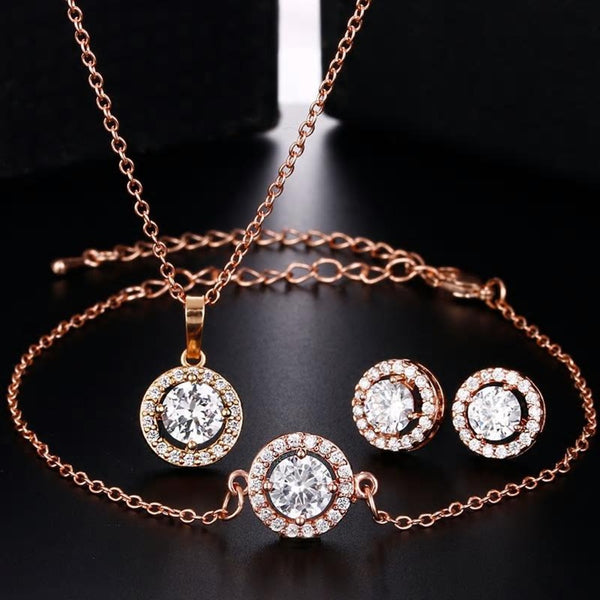 CZ  Solitaire Crystal Luxury Pendant Bracelet Earrings Set - 3 Variants - [neshe.in]