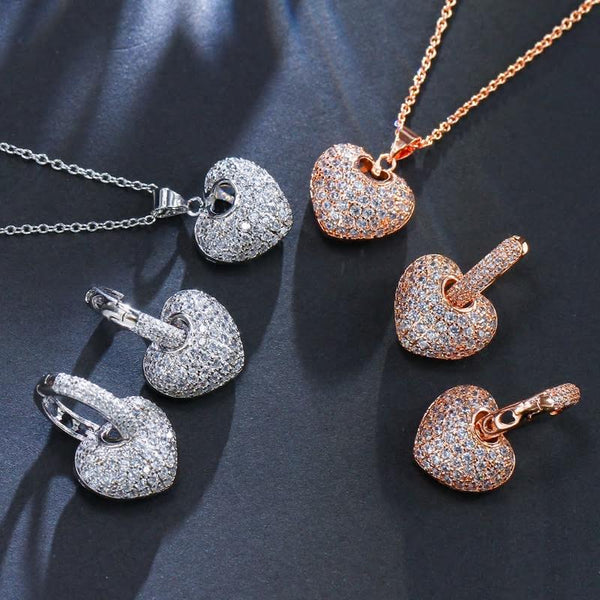 CZ AAA Crystal Heart Earring and Necklace Pendant Set - 3 Variants - [neshe.in]