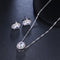 CZ Solitaire Oval Earring and Necklace Pendant Set - [neshe.in]