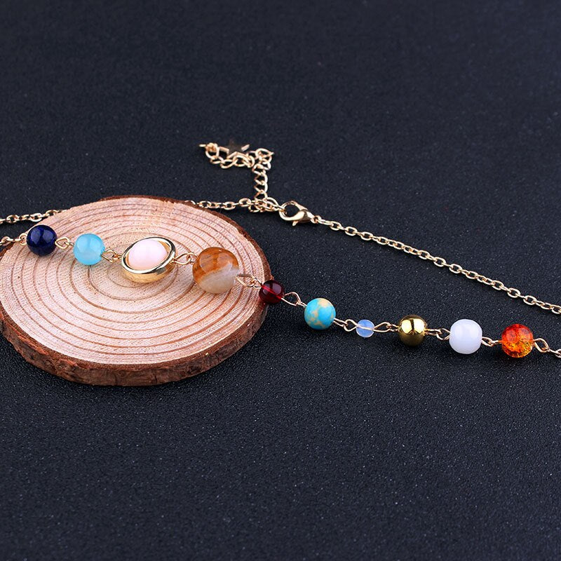 The Eight Planets with Star Natural Stone Gold  Chokers Necklace - [neshe.in]
